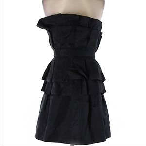 Strapless Ruffle Silk Black Dress XS